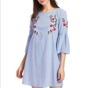 Dresses & Skirts - Striped blue and white Embroidered Tunic Dress